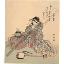 葛飾北斎: Woman with shamisen (title not original) - Austrian Museum of Applied Arts