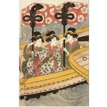 菊川英山: Women's daimyo procession crossing the river on ferry boats (title not original) - Austrian Museum of Applied Arts