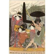 Kikugawa Eizan: Women's daimyo procession crossing the river on ferry boats (title not original) - Austrian Museum of Applied Arts