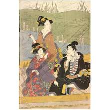 Kikugawa Eizan: Women's daimyo procession crossing the river on ferry boats (title not original) - Austrian Museum of Applied Arts