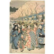 Kikugawa Eizan: Main street of the pleasure quarter Yoshiwara (title not original) - Austrian Museum of Applied Arts