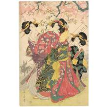 """Kikugawa Eizan: Fashionable version of the fairy tale """"The old man who made the dead trees blossom"""" - Austrian Museum of Applied Arts"""