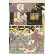 Kikugawa Eizan: Crossing the river in a sedan-chair (title not original) - Austrian Museum of Applied Arts