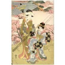 菊川英山: Pilgrimage to the flowers of Ryodaishi temple at Ueno in the eastern capital - Austrian Museum of Applied Arts