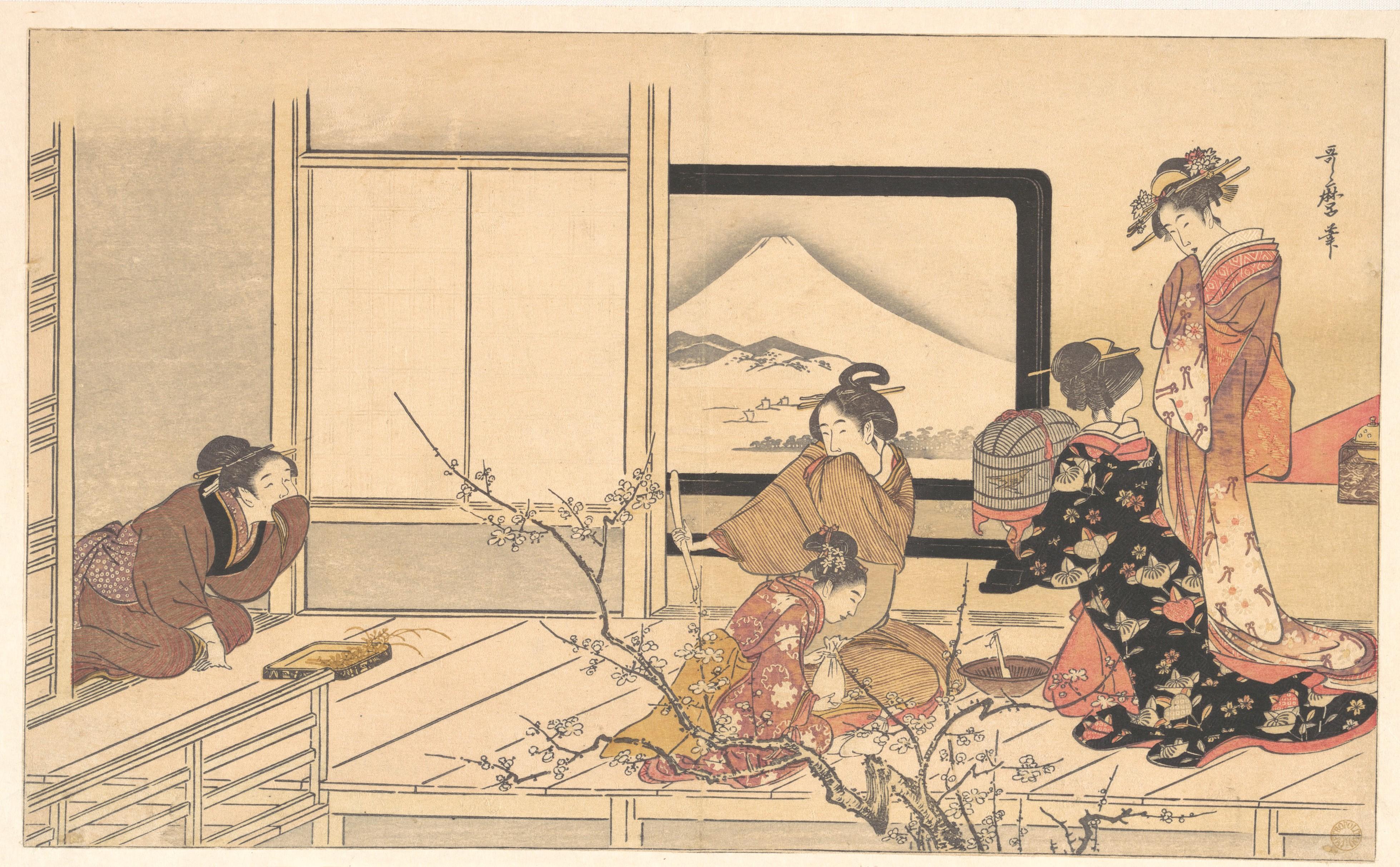 Kitagawa Utamaro Feeding The Caged Bird Metropolitan