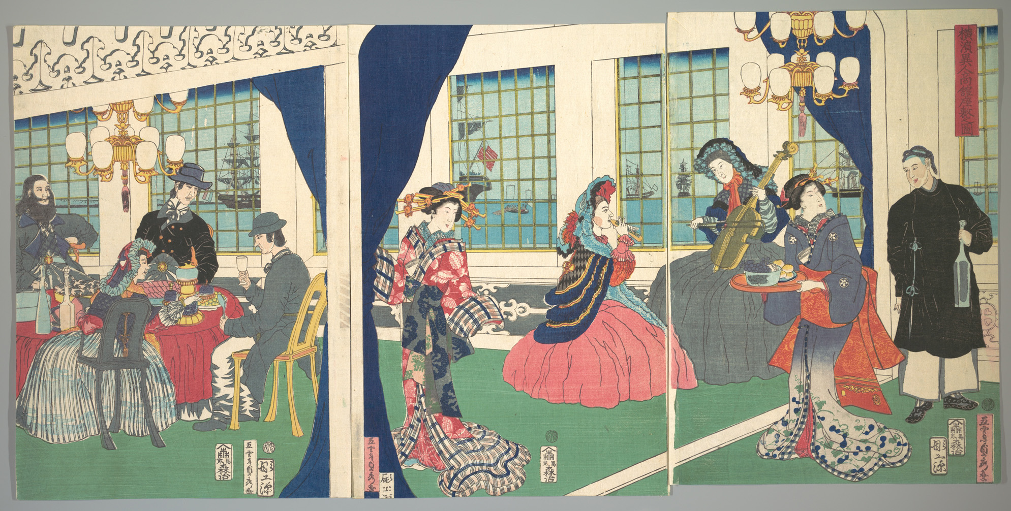 Utagawa Sadahide Foreigners In The Drawing Room Of