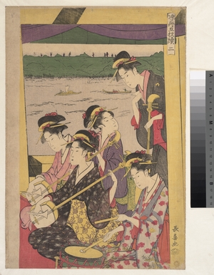 Eishosai Choki: A Party of Geisha in a Suzumi-bune, i.e.