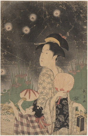 Eishosai Choki: Woman and Child Catching Fireflies - Metropolitan Museum of Art