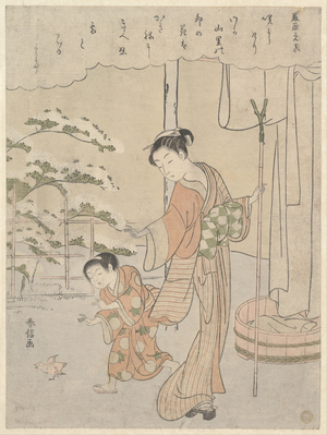 Suzuki Harunobu: Poem by Fujiwara no Motozane (ca. 860) from the Series Thirty-Six Poets - Metropolitan Museum of Art