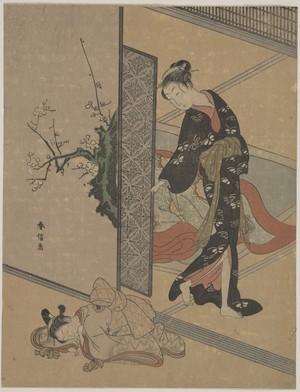 鈴木春信: Young Lady Looking through Door at Her Kamuro (Little Servant) who is Asleep on the Floor - メトロポリタン美術館
