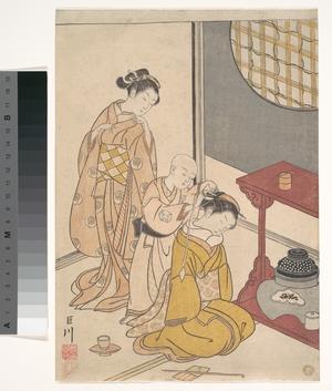 Suzuki Harunobu: Night Rain at the Double-Shelf Stand, from the series Eight Parlor Views (Zashiki hakkei) - Metropolitan Museum of Art