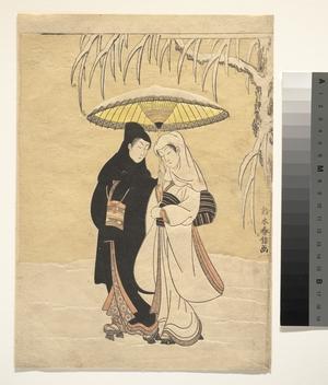 鈴木春信: Lovers Walking in the Snow (Crow and Heron) - メトロポリタン美術館
