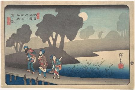 歌川広重: Moonlit Night at Miyanokoshi, from The Sixty-nine Stations of the Kisokaidô - メトロポリタン美術館