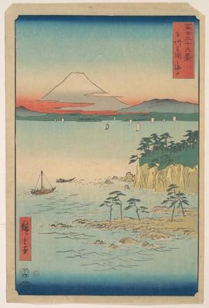 Utagawa Hiroshige: Fuji from Miura, Sagami (Soshu Miura no Kaijo), from the series Thirty-six Views of Mount Fuji (Fugaku sanjûrokkei) - Metropolitan Museum of Art