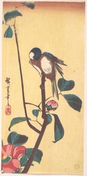 Utagawa Hiroshige: Camellia and Blue-Headed Bird - Metropolitan Museum of Art