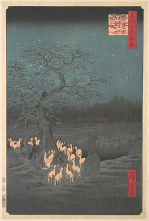 歌川広重: Shozokuenoki Tree at Oji: Fox–fires on New Years Eve - メトロポリタン美術館