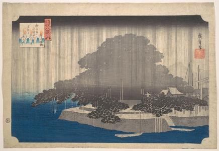 歌川広重: Evening Rain on the Karasaki Pine - メトロポリタン美術館