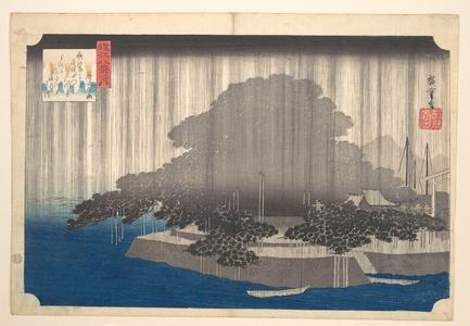歌川広重: Evening Rain at Karasaki-Pine Tree - メトロポリタン美術館