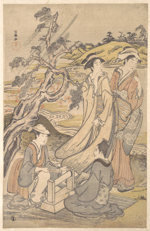 窪俊満: Group of Four Women on the Bank of a Winding Stream - メトロポリタン美術館