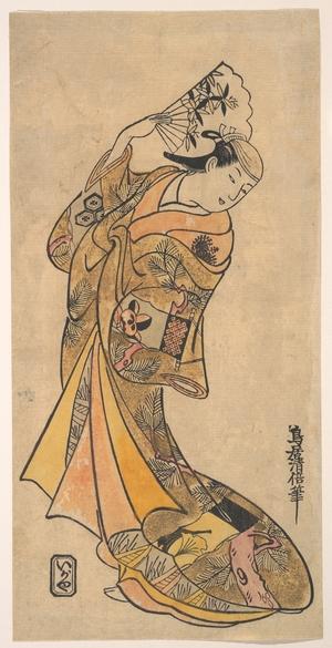 鳥居清倍: The Actor, Nakamura Shichisaburo II, 1703–1774 as a Woman with Fan - メトロポリタン美術館