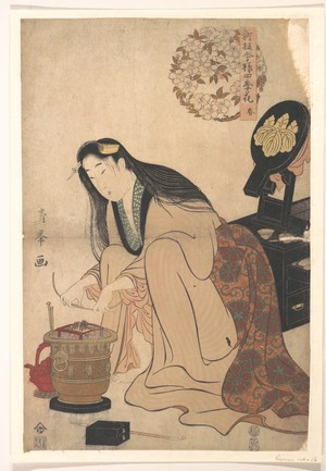 Torii Kiyomine: Lady Arranging Binsashi (Support for the Hair over the Temples) to put in Her Hair - Metropolitan Museum of Art