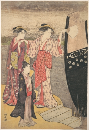 Torii Kiyonaga: Disembarking from a Pleasure Boat on the Sumida River - Metropolitan Museum of Art