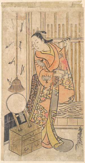 Torii Kiyotada I: Actor as a Woman Standing by a Mirror Stand - Metropolitan Museum of Art