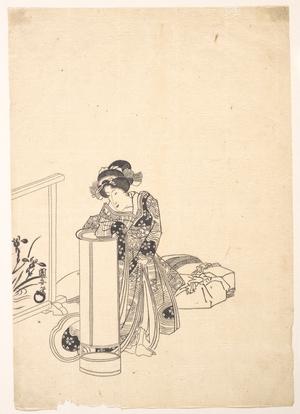 歌川国安: Young Woman Leaning over a Tall Lamp - メトロポリタン美術館