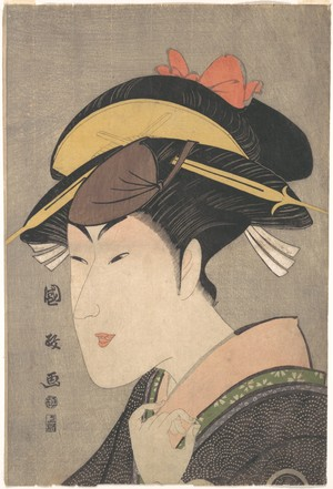 歌川国政: The Actor Matsumoto Yonesaburô in a Woman's Role - メトロポリタン美術館