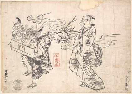 Okumura Masanobu: Mizuki Kikusaburo as a Woman Standing near a Small Stream and Looking at a Wandering Puppet-showman Impersonated by Ichimura Takenojo (Later Known as the 8th Ichimura Uzaemon) - Metropolitan Museum of Art
