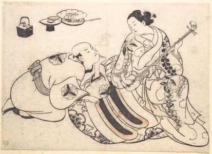 奥村政信: A Man in a Kneeling Posture Bending Forward and Listening to an Oiran who is Playing the Shamisen - メトロポリタン美術館