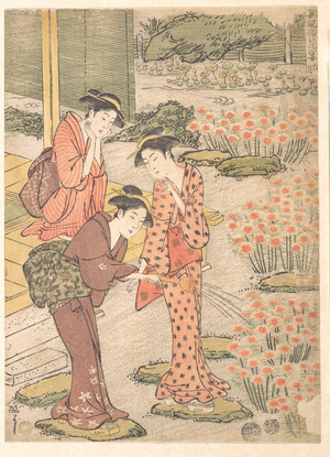 Keisai: Three Young Women in a Garden where Nadeshiko Pinks are Growing - メトロポリタン美術館