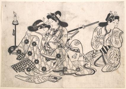 Sugimura Jihei: Samurai and Courtesan Seated; A Servant Beside Them - Metropolitan Museum of Art