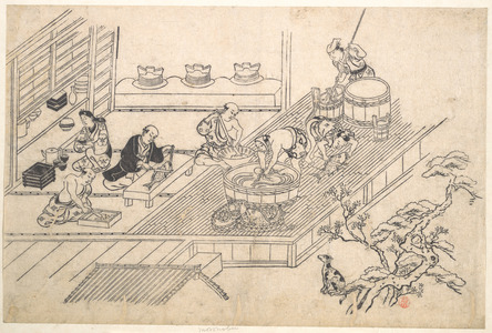 Hishikawa Moronobu: The Kitchen of a Joroya. - Metropolitan Museum of Art