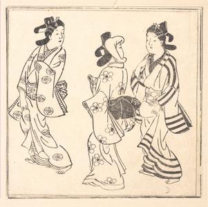 菱川師宣: Leaf from a Book Entitled: Wakoku Hiaku-jo: One Hundred Japanese Women - メトロポリタン美術館