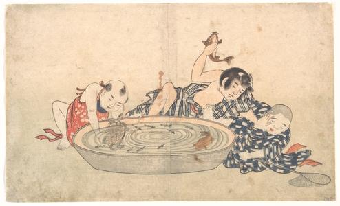 北尾重政: Boys Playing with a Basin of Fish and Turtles - メトロポリタン美術館