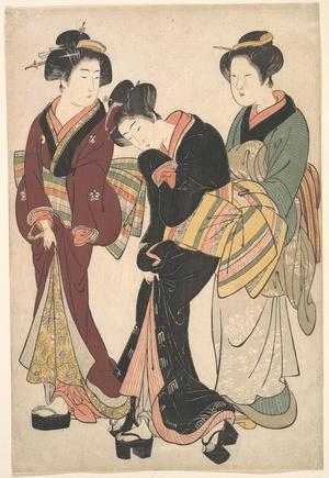 北尾重政: Two Geishas and a Maid - メトロポリタン美術館