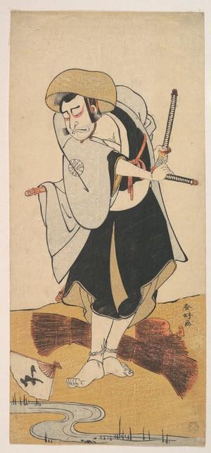 勝川春好: The First Nakamura Nakazo as a Ronin Samurai Attired in a Black Kimono - メトロポリタン美術館