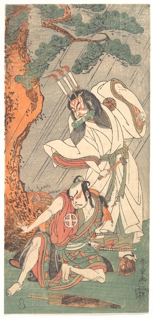 勝川春章: The Actors Ichimura Uzaemon IX in the Role of Ko-kakeyama and O-tani Hiroji III in the Role of Kôga Saburô - メトロポリタン美術館