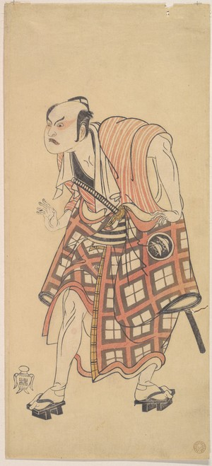 勝川春章: The Second Nakajima Mihoemon as a Man Standing with Head Bent Forward - メトロポリタン美術館