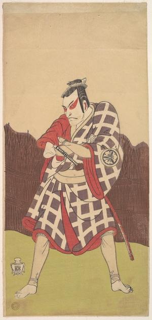 勝川春章: The Actor Matsumoto Koshiro 3rd as a Man who Stands with Arms Folded near a Brush Fence - メトロポリタン美術館