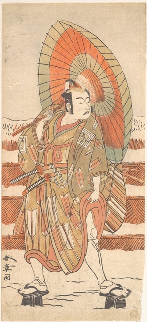 勝川春章: The Second Ichikawa Yaozo as a Samurai Standing in the Snow - メトロポリタン美術館