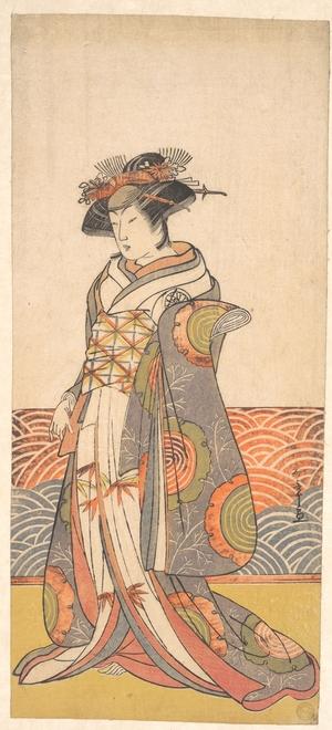 Katsukawa Shunsho: The Third Segawa Kikunojo as a Woman Standing in a Room Having a Wave-pattern Dado - Metropolitan Museum of Art