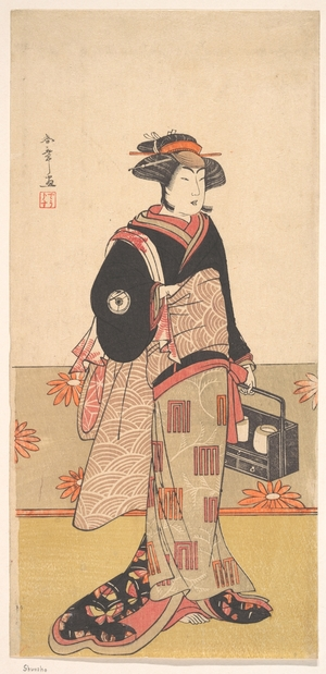 Katsukawa Shunsho: The Actor Iwai Hanshiro IV as a Woman in a Black Kimono - Metropolitan Museum of Art