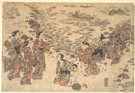Ishikawa Toyonobu: Women and a Small Boy Gathering Shells on a Beach by the Sea - Metropolitan Museum of Art