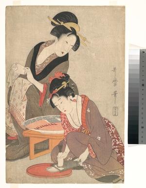 喜多川歌麿: Women Preparing Sashimi - メトロポリタン美術館