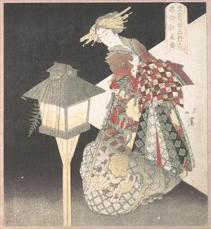 Totoya Hokkei: Courtesans Standing Beside a Lantern - Metropolitan Museum of Art