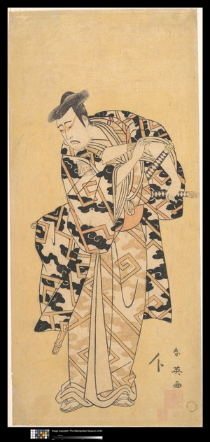 Katsukawa Shun'ei: The Actor Ichikawa Yaozô III as Fuwa Banzaemon in a Thunder Robe, Playing with a Fan - Metropolitan Museum of Art