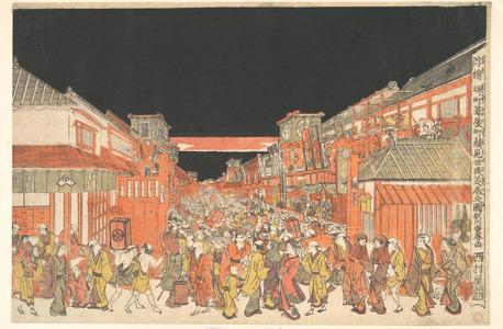 歌川豊春: Perspective Picture (Uki-e): Theater District at Dawn on Opening Day of the Kabuki Season - メトロポリタン美術館