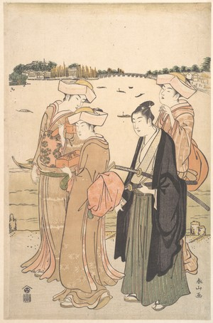 Katsukawa Shunzan: A Young Samurai and Three Women - Metropolitan Museum of Art